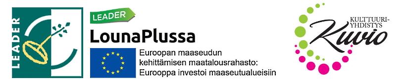 Kulttuuriyhdistys Kuvion Taidetalo liikkeessä -hanketta rahoittavat EU:n Maatalousrahasto ja LounaPlussa Leader.